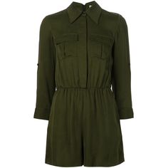 Alice+Olivia military style playsuit ($525) ❤ liked on Polyvore featuring jumpsuits, rompers, dresses, romper, playsuit, jumpers, shorts, green, military fashion and green romper