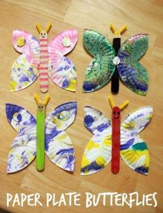 A paper plate butterfly craft for kids -- a great summer activity and especially beautiful with marbled paper plates! by nanette