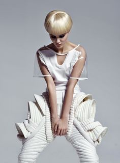 Feminine meets Futuristic - 3D Sculptural Fashion Repinned by www.fashion.net