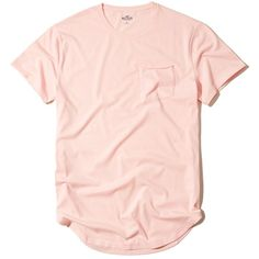 Hollister Curved Hem Pocket T-Shirt (595 PHP) ❤ liked on Polyvore featuring men's fashion, men's clothing, men's shirts, men's t-shirts, light pink, light pink mens dress shirt, mens crew neck t shirts, mens pocket t shirts, mens slim fit shirts and j crew mens shirts