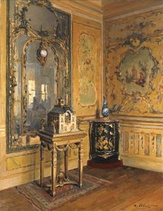 ♜ Shabby Castle Chic ♜ rich and gorgeous home decor - Maurice Lobre, 1910 Musee Carnavalet, Maurice, French Decor, Room Paint, Beautiful Interiors, Interior Paint, Chinoiserie, Old World, 18th Century