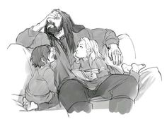 """silverbeast: kaciart: answered: Young Fili and Kili asking Thorin where babies come from to his horror. """"Stop ignoring me, Uncle Thorin!"""" Thorin's face. XD ←""""Um, well, you see… They sprout from the ground. Fili Et Kili, Kili And Tauriel, Hobbit Dwarves, O Hobbit, Thranduil, Legolas, Bagginshield, Thorin Oakenshield, Bilbo Baggins"""