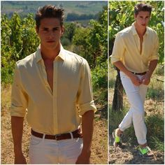 H&M Yellow Shirt, H&M White Trouser