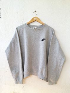 Vintage 90's NIKE Sweatshirt with Small Logo Spell Out Embroidered Sweater Jumper Pullover Swag Hip Hop Streetwear Adult Oversize LL VSS109 by fiestorevintage on Etsy
