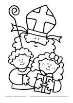 Sinterklaas met staf en twee kinderen.