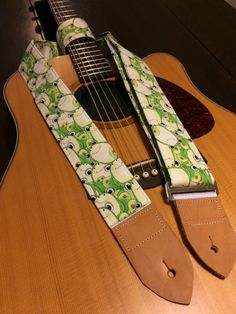 Cool guitar strap -- cute cartoon frogs -- shades of green, cream, red and black by MyMumDrivesaUFO on Etsy