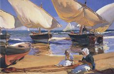 On the Beach at Valencia - Joaquin Sorolla y Bastida hand-painted oil painting reproduction,women repair fishing nets on beach landscape art Spanish Painters, Spanish Artists, Beach Landscape, Oil Painting Reproductions, Claude Monet, Beach Art, Oil Painting On Canvas, Strand, Landscape Paintings