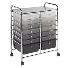 Ecr4kids 14 Drawer Mobile Organizer, Grayscale (elr-20101-Gy)