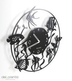 "Metal Wall clock ATOL -  40 cm / 16"" - Metal laser cutting - Design Jacques Lahitte © Tolonensis Creation - www.tolonensis.com"