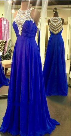 Illsuion Neck Long Chiffon Royal Blue Prom Dress with Beading evening dresses