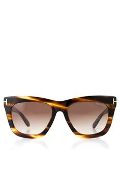 TOM FORD - 'Celina' Sunglasses Brown | Plastic frame Sunglasses with shiny rose gold metal 'T' logo insert on the temple and gradient brown glasses.
