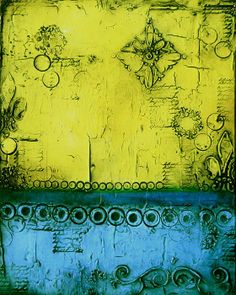 Yellow and blue mixed media textured painting fine art print by Laura Carter