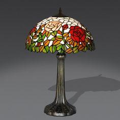 Lampada da Tavolo Tiffany a fantasia di Fiori: Rose rosse, gialle. Foglie verdi. Sfono Bianco Latte.