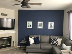 "Navy wall: color is Behr in ""English Channel"""