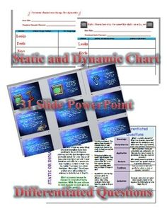 This product is an entire unit on teaching the difference between static and dynamic characters. It includes:Lesson plan for unit Static and Dynamic Chart for any short storyStatic and Dynamic PowerPoint using Shel Silverstein storiesStatic and Dynamic Short Film Prezi with HandoutStatic and Dynamic Differentiated QuestionsStatic and Dynamic 10 question test Answer key is included for everything aside from the chart (Because that will vary based on which story you choose to utilize in your c...