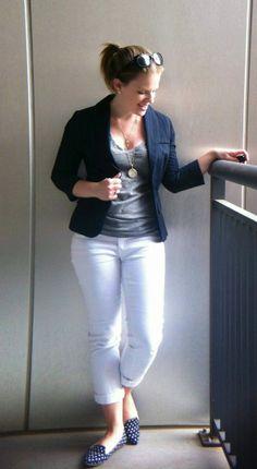 white pants, grey tee, navy cardi/blazer