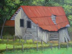 "Red roofed ruin, oil on canvas, 9"" x 12"", 2015, sold at Biblioworks.org auction"