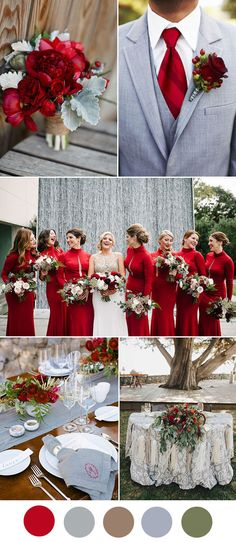 Crimson red and grey classic wedding colors