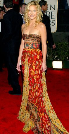 "Kate Hudson, 2003 Valentino Kate Hudson selected a multi-print haute-hippie design for her red-carpet stroll. ""When she wore my gown she left the world, including me, in awe with her young, relaxed and elegantly fresh California look,"" Valentino told InStyle."