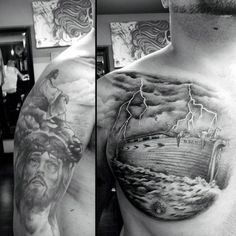 Noahs Ark Christian Tattoo For Men On Chest With Jesus On Arm