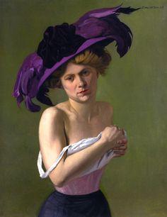 1907 Felix VALLOTTON (Swiss artist, 1865-1925) The Purple Hat