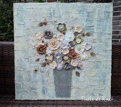 Tineke de Raat:   Acryl, mixed media 80 x 80 cm. Te koop. Schilder...