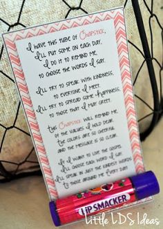 Little LDS Ideas: {Young Women} Chapstick Handout Sept. Come Follow Me. How my words affect me and those around me.
