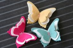 Butterfly Hair Clip in Wool Felt Alligator by ChatterboxClippies,.00