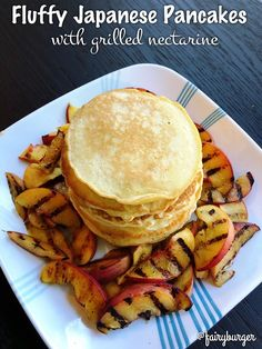 Fluffy Japanese Pancakes with Grilled Nectarines | @fairyburger