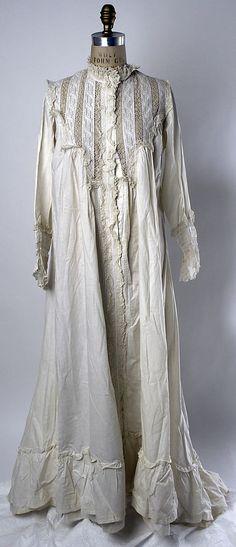 Nightgown  Date: 1870s Culture: American Medium: cotton  Accession Number: C.I.47.40.1  Metropolitan Museum of Art
