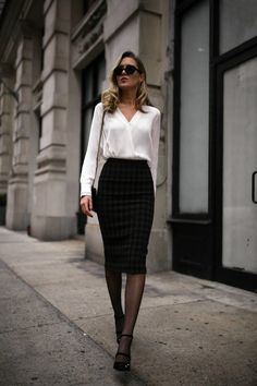 Classic pencil skirt and white blouse