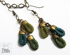 Handmade, handcrafted crochet silk earrings, fall autumn earrings, green, original design, fiber earrings, artisan earrings, boho, romantic