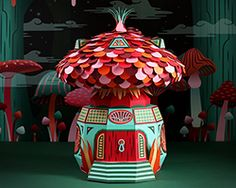 French design studio Zim & Zou's Hermès window display, at the brand's Dubai boutique, is a rainbow-hued fantasy land, crafted entirely from paper. 3d Paper Crafts, Paper Art, Paper Design, Design Art, Hermes Window, Hermes Store, Colossal Art, Display Design, Paper Cutting
