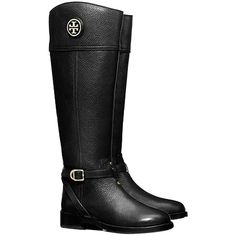 Pre-owned Tory Burch Teresa Riding Black Boots ($435) ❤ liked on Polyvore featuring shoes, boots, black, real leather riding boots, buckle boots, black leather knee high boots, equestrian boots and leather boots