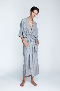 The 'Evie' Robe in Fog - Andrea & Joen French Linen Loungewear Collection shot by Sylve Colless Textiles, Fashion 2020, Capsule Wardrobe, Lounge Wear, Street Style, Fashion Outfits, Summer Dresses, My Style, How To Wear