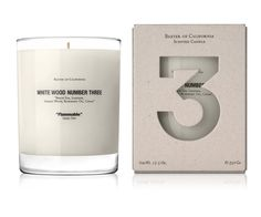 """lylaandblu:    Baxter•WHITE WOOD 3 """"Flammable"""" soy wax scented candle  The scented-soy-wax-candle collection """"White Wood"""" is a series of 3 distinct woodsy scents, with packaging design by Marc Atlan."""