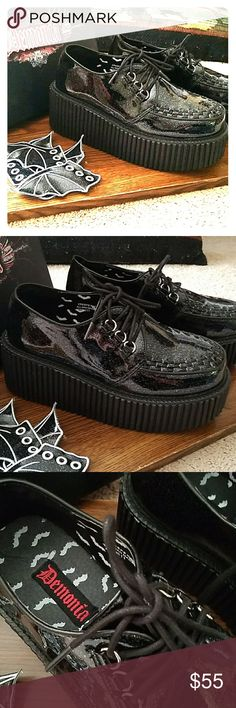 Demonia Platform Shoes with Detachable Batwings Worn ONCE! Great condition. Black and glittery, vegan materials. Bat wings go on the laces. Fit like a 9, sized as a 10. Platforms are 2 inches in height. demonia Shoes Platforms