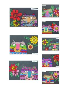 Laurel Burch Cats: I love these children's art pieces inspired by Laurel Burch cats.