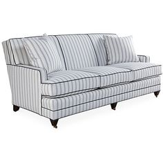Maxfield Sofa, Navy/Ivory Sunbrella - Sofas & Sectionals - Furniture - Category Landing Page Dark Blue Couch, Navy Blue Couches, Striped Furniture, Striped Sofa, Transitional Sofas, Beige Sofa, New Home Designs, Sectional Sofa, Outdoor Sofa