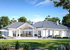 Projekt domu Willa Parkowa 6 207,29 m² - koszt budowy - EXTRADOM Beautiful House Plans, Beautiful Homes, Dream Home Design, House Design, Modern Bungalow Exterior, Three Bedroom House Plan, Timber House, House Layouts, Home Fashion
