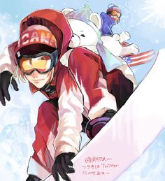 Matthew and Alfred as snowboarders, possibly in the 2014 Sochi Winter Olympics - Art by ほ This is so cool!!!!