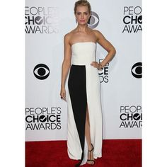 Beth Behrs White and Black Slit Strapless Prom Dress 2014 People's Choice Awards Red Carpet
