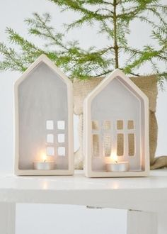 Clay Houses, Ceramic Houses, Houses Houses, Village Houses, Home Candles, Diy Candles, Beeswax Candles, Diy Clay, Clay Crafts