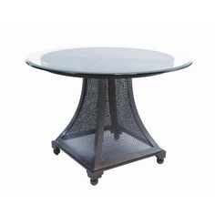 Allan Copley Designs Bianca Round Glass Top Dining Table with Screened Base Glass Top Dining Table, Dining Table Design, Dining Table In Kitchen, Round Dining Table, Dining Furniture, Round Glass, Table Bases, Foyers, Buffets