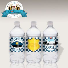 INSTANT DOWNLOAD EDITABLE Police Officer birthday party water bottle labels by LilFacesPrintables, $4.95