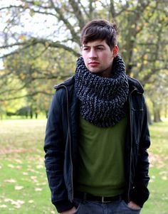 Hand Knit Cowl Scarf, Men s Snood, Winter Accessories, Chunky Cowl, Gray Mix