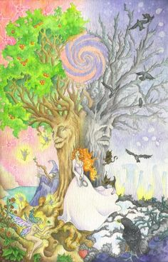 SciFi and Fantasy Art The Two Trees by Alex Teddy Cardenas inspired by one of my favorite poems: The Two Trees by William Butler Yeats Fantasy Trees, Fantasy Art, Two Trees, Walk In The Woods, Enchanted, Celtic, Fairy Tales, Two By Two, Sci Fi