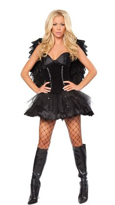Sexy Black Angel Halloween Costume, 2 pc - Click picture TWICE to order & see pricing