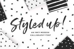 Chameo design loves this font for branding, logo, graphic design I entrepreneurs, bloggers, startups I Styled up!Brush Calligraphy Font Duo by Nicky Laatz on @creativemarket