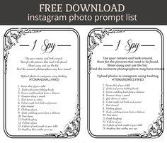 i spy prompt sheet for instagram wedding photo uploads - FREE DOWNLOAD